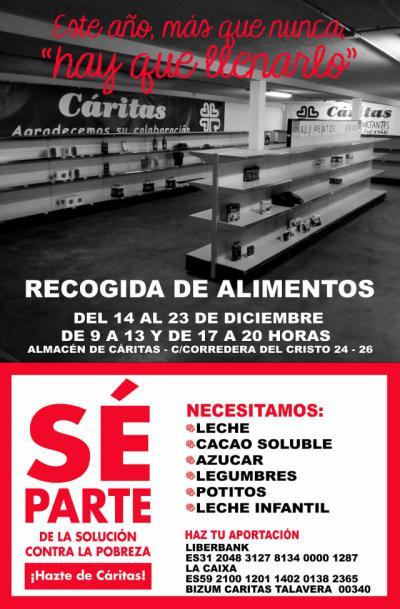 RECOGIDA DE ALIMENTOS | Cáritas Talavera pide colaboración: