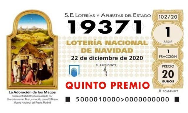 LOTERÍA DE NAVIDAD   Sale otro quinto premio 19.371... cae en Seseña (TO) y Alcázar (CR)