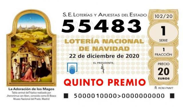 LOTERÍA DE NAVIDAD | Nuevo quinto premio: 55.483