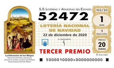 LOTERÍA DE NAVIDAD   Ya ha salido el tercer premio: 52.472, ha caído en Toledo