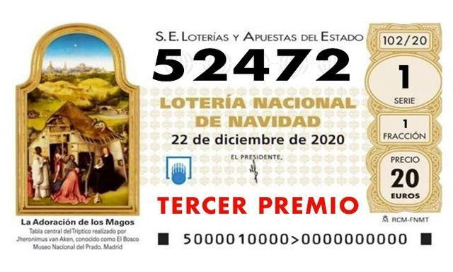LOTERÍA DE NAVIDAD | Ya ha salido el tercer premio: 52.472, ha caído en Toledo
