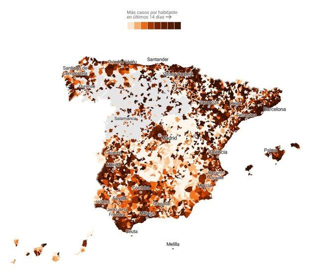 Estos son los municipios con más incidencia de covid-19 en España