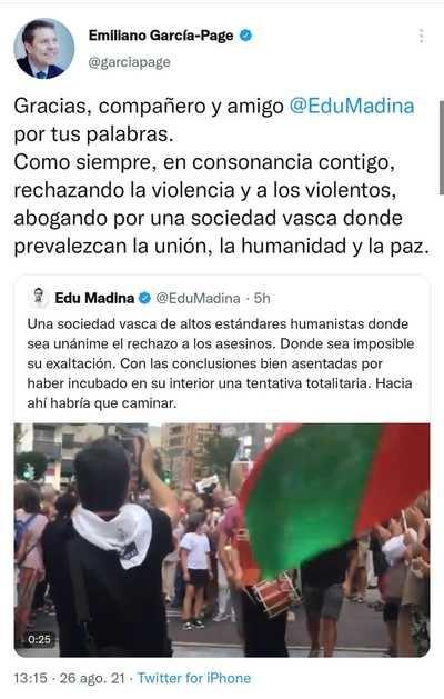 El tuit de Page contra ETA y el apoyo a Eduardo Madina