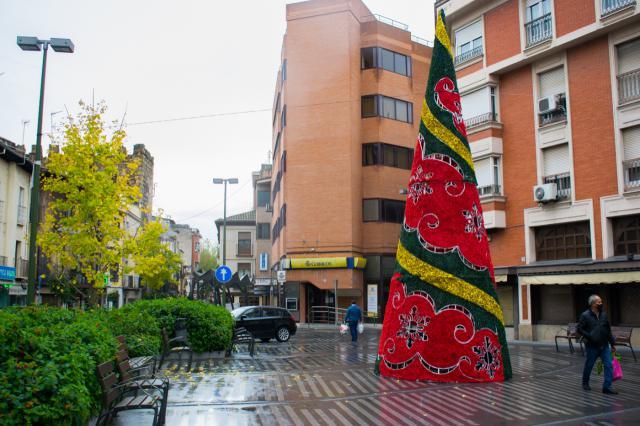 Árbol luminoso en la Plaza del Reloj | Foto: Iván Gutiérrez