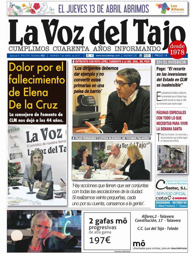 Portada abril | Dolor por el fallecimiento de Elena de la Cruz