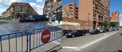 Caos circulatorio en el centro de Talavera por el asfaltado de una rotonda en horario diurno