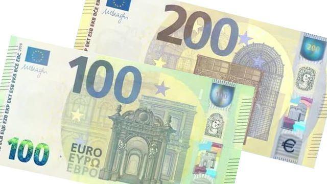 Así son los nuevos billetes de 100 y 200 euros que entran este martes en circulación