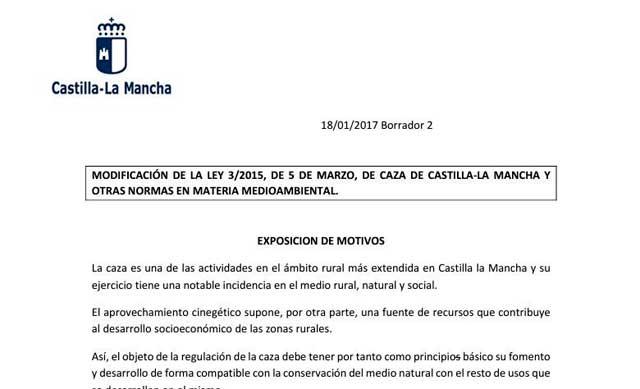 Publicado el borrador de la nueva Ley de Caza en Castilla-La Mancha