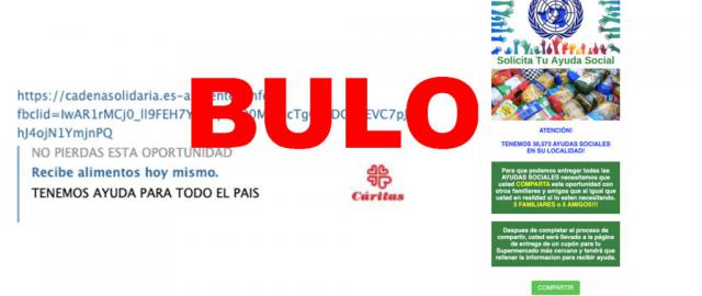 BULO | Si te llega este mensaje de Cáritas no lo abras, es un timo