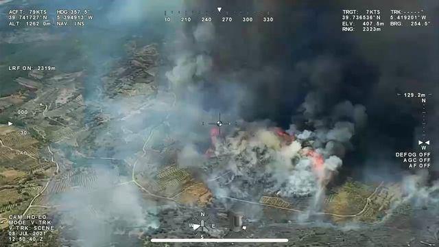 Imagen aérea del incendio de Peraleda de San Román. INFOEX