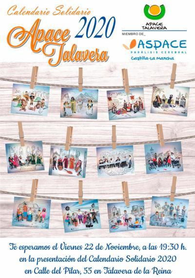 APACE Talavera presenta este viernes su calendario solidario 2020