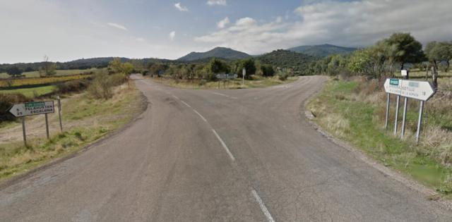 Intersección de las carreteras CM-5001 y la CM-5005 en El Real de San Vicente