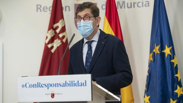Manuel Villegas en una comparecencia pública sobre situación del coronavirus en la RegiónEUROPA PRESS