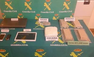La Guardia Civil impide la venta de más de 211.000 dosis de droga