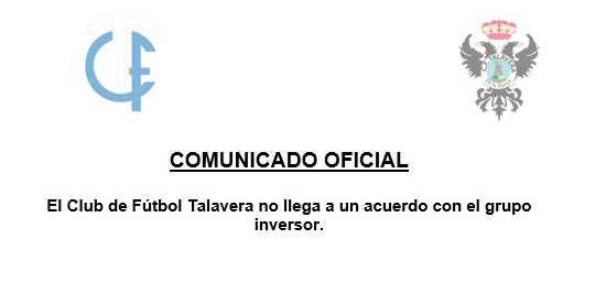 FÚTBOL | Se rompen las negociaciones CF Talavera-Grupo Inversor
