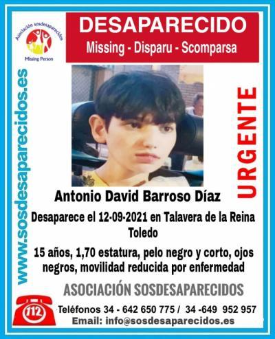 Buscan a Antonio David Barroso, un menor de 15 años