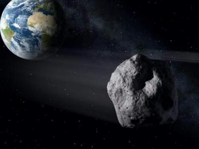 Imagen de la Tierra y un asteroide