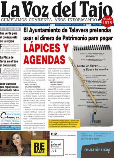 Portada enero   El Ayuntamiento de Talavera pretendía usar el dínero de Patrimonio para pagar 'lápices y cuadernos'