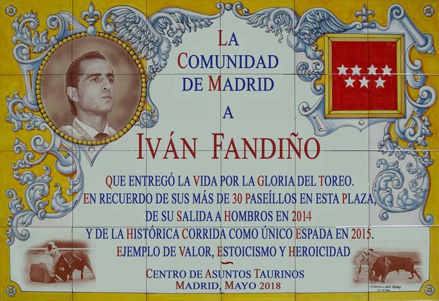 El azulejo del homenaje al torero Iván Fandiño en Las Ventas tiene sello talaverano