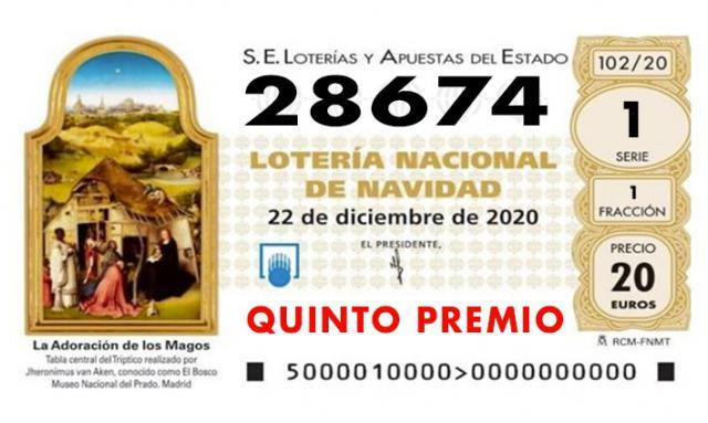 LOTERÍA DE NAVIDAD | Sale otro quinto premio: 28.674
