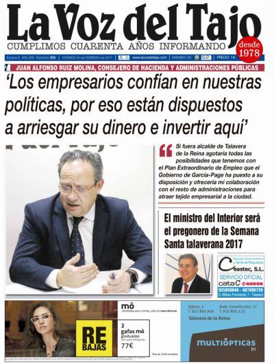 Portada febrero   Entrevista a Ruiz Molina -y 'venta' de agua del Tajo-