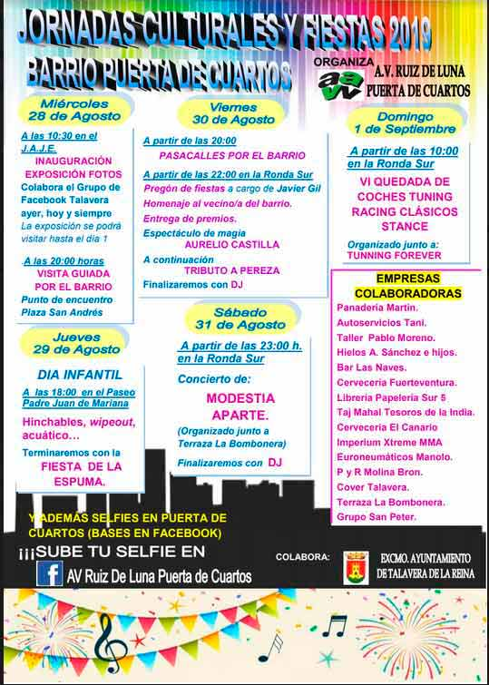Programa de las fiestas de Puerta de Cuartos.