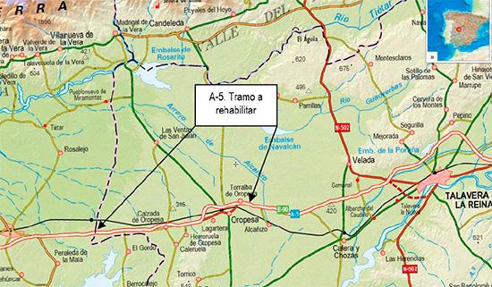 Fomento licita un contrato de obra para la rehabilitación del firme de la autovía A-5 en la provincia de Toledo