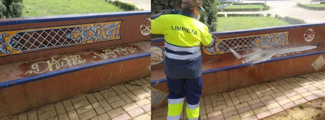 VANDALISMO | Los equipos de limpieza han recuperado el patrimonio cerámico de los Jardines