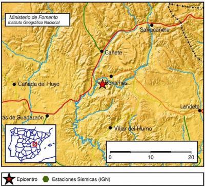 Registrado un terremoto en Boniches, el tercero en dos días en Castilla-La Mancha
