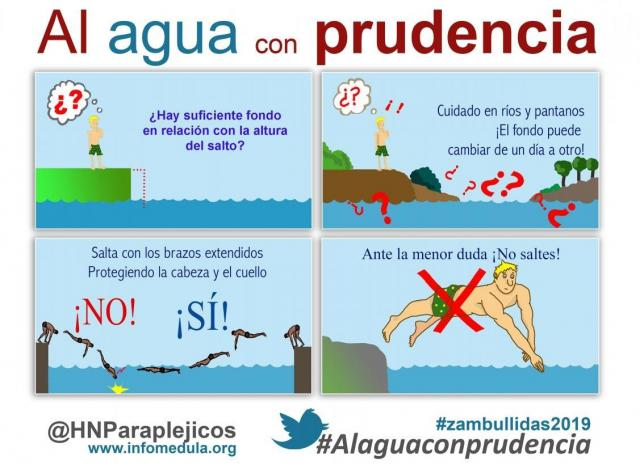 'Al agua con prudencia', campaña de Parapléjicos para prevenir las lesiones medulares en verano