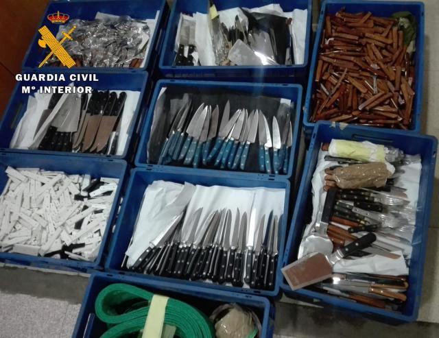 Detenido por robar más de 4.000 cuchillos y diverso material por valor de 300.000 euros