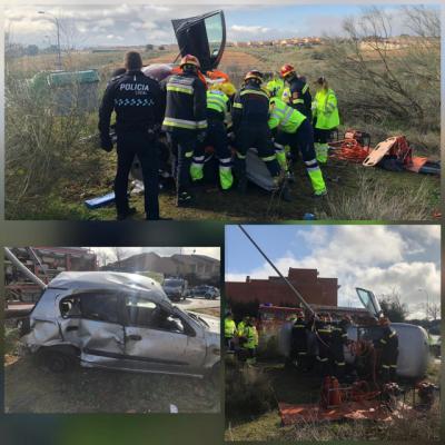 Cinco heridos tras la salida de vía de un vehículo en el barrio de Valparaiso de Toledo