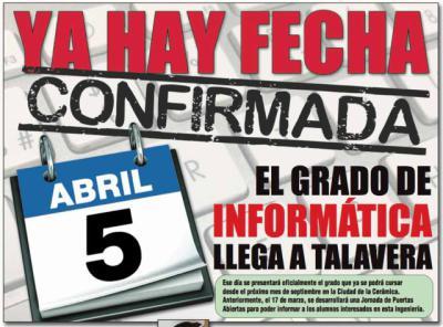 El Grado de Informática se presenta el 5 de abril