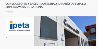 296 PLAZAS | Abierto el plazo de presentación de solicitudes del Plan de Empleo Talavera (enlace)