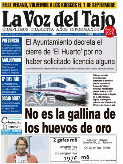 Portada julio | El AVE no es la gallina de los huevos de oro -y Molina en la Junta-