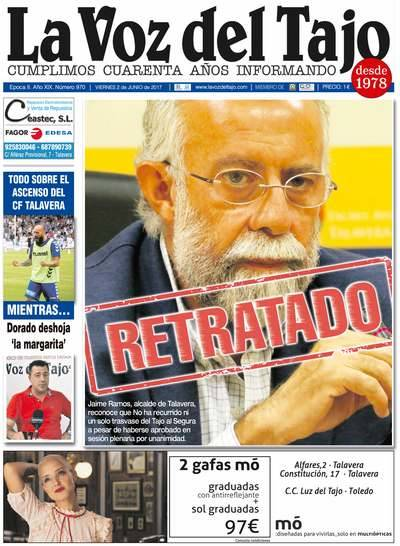 Portada junio | Retratado: Ramos reconoce que no ha recurrido ni un solo trasvase -y el CF Talavera, a por el ascenso-