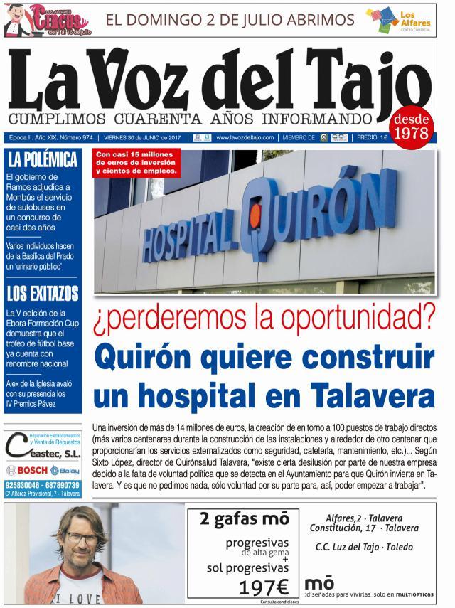 Portada junio | Quirón quiere construir un hospital en Talavera -y Orgullo en la ciudad con polémica incluida-