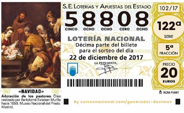 Un quinto premio de la Lotería de Navidad cae en Talavera de la Reina