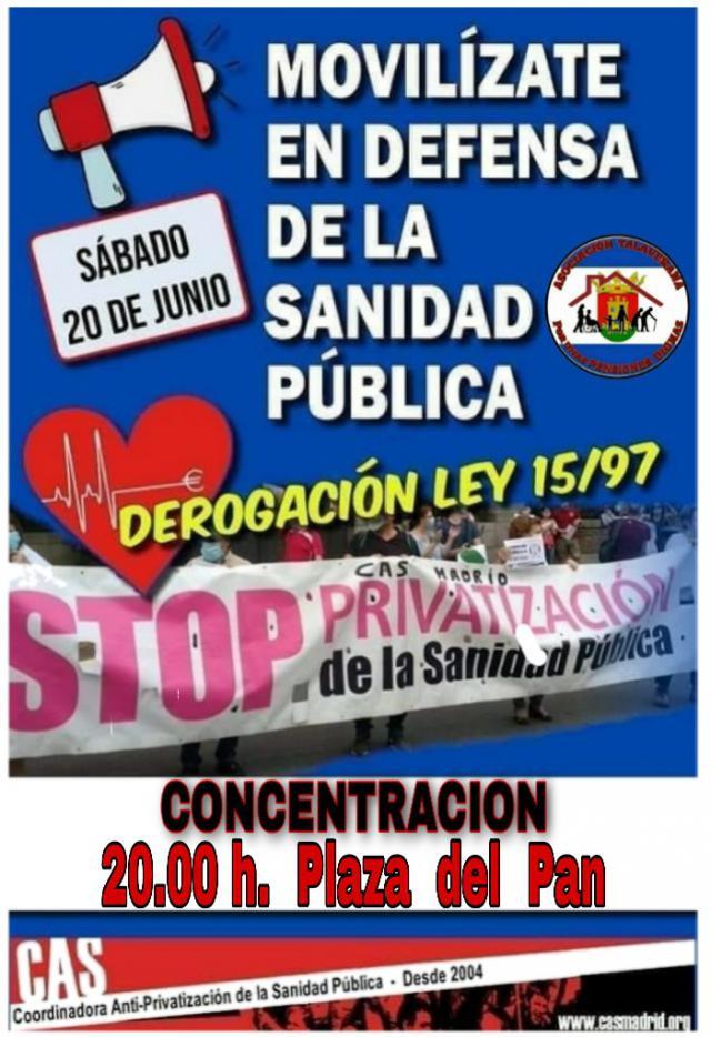 TALAVERA   Convocan una concentración el sábado 20 para defender la sanidad pública