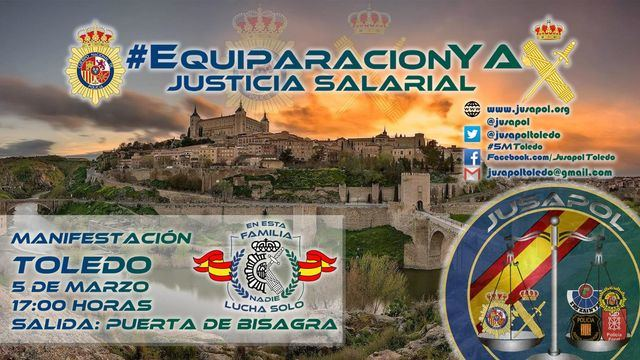 Policías y guardias civiles se manifiestan este lunes en Toledo para exigir la equiparación salarial