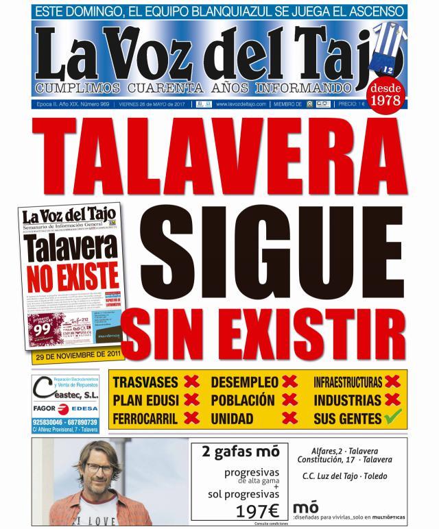 Portada mayo | Talavera sigue sin existir -desempleo, trasvase, despoblación, infraestructuras... y Ramos anuncia un otoño reivindicativo-