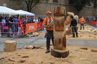 Cinco artistas de carácter internacional demuestran su destreza en la escultura con motosierra en Toledo