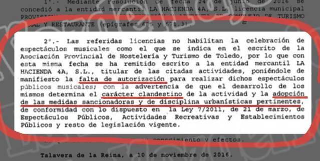 Documento firmado por la concejal María Rodríguez donde se avisa de una posible sanción.