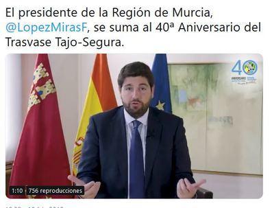 El presidente de la Región de Murcia, felicita a los responsables del trasvase Tajo-Segura