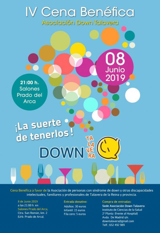 La Asociación Down Talavera celebrará la IV Cena Benéfica