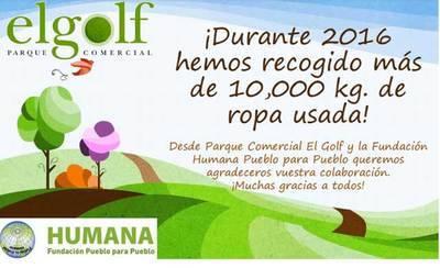 Parque Comercial El Golf recoge 10 toneladas de ropa usada para una ONG