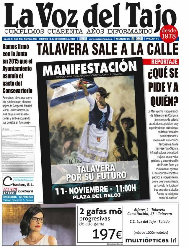 Portada noviembre | Talavera sale a la calle en la manifestación del 11 de noviembre