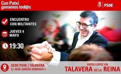 Patxi López estará en Talavera para reunirse con los militantes del PSOE