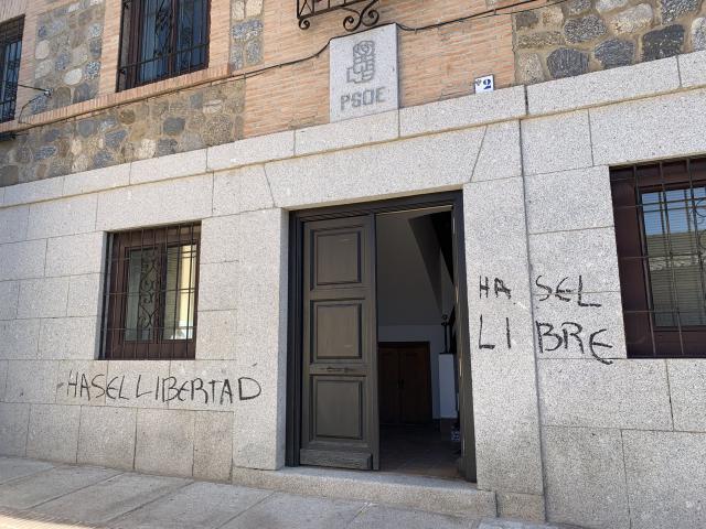 VANDALISMO | El PSOE denuncia las pintadas en su sede de Toledo para reclamar la libertad de Hasél