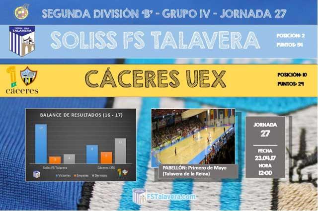 El Soliss FS Talavera buscará los tres puntos ante UEX Cáceres en la matinal del domingo